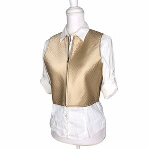 Emanuel Ungaro 100% silk Champagne cropped vest 4